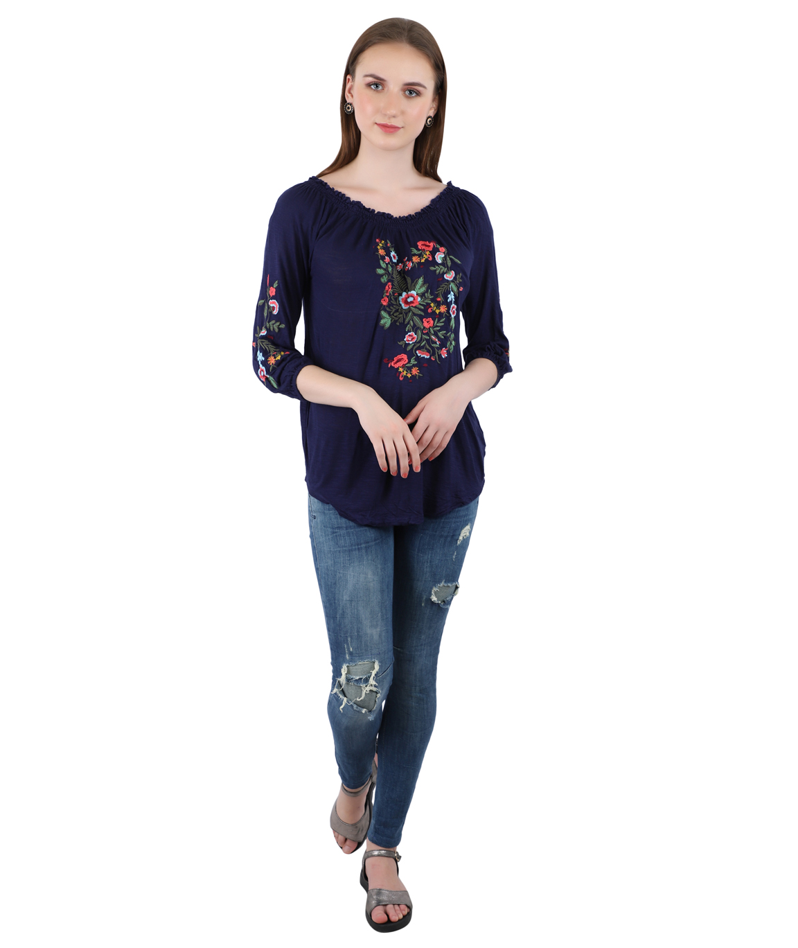Swag Blue Color Imported  Streachable Fabric Cotton Top For Women