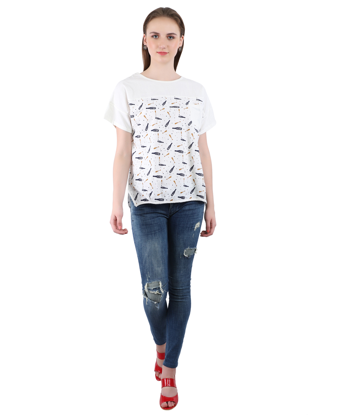 Swag  Imported  Streachable Fabric Cotton Top For Women
