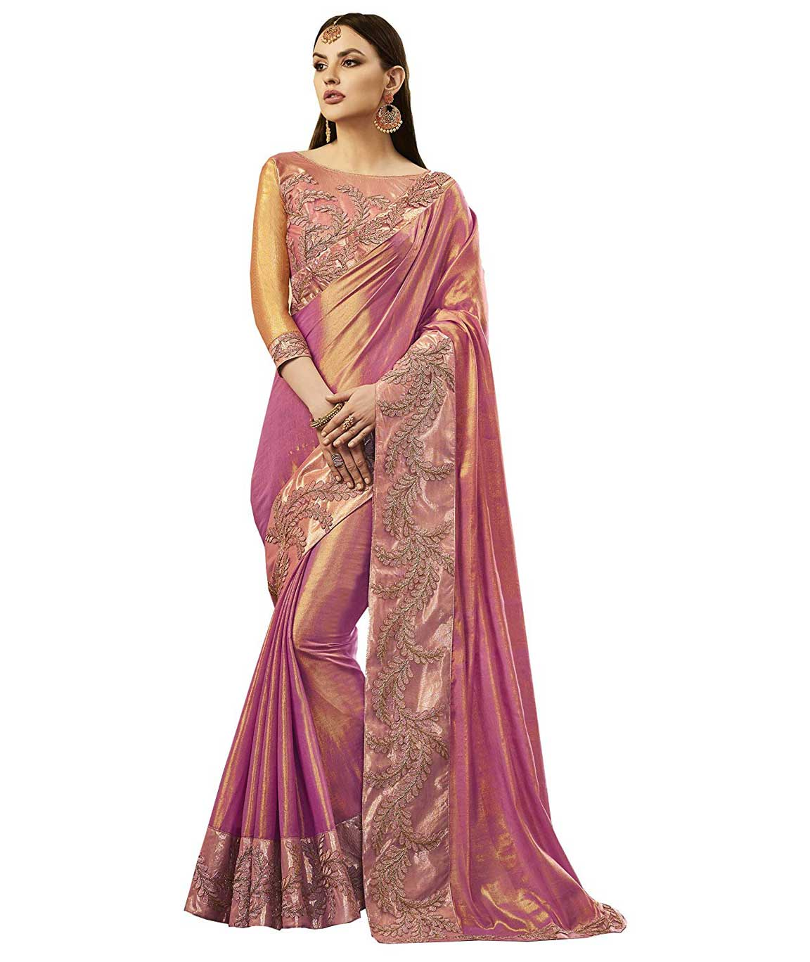 Shangrila Designer Pink Color Embellished Lace Work Silk Saree With Unstitched Blouse (Pink)