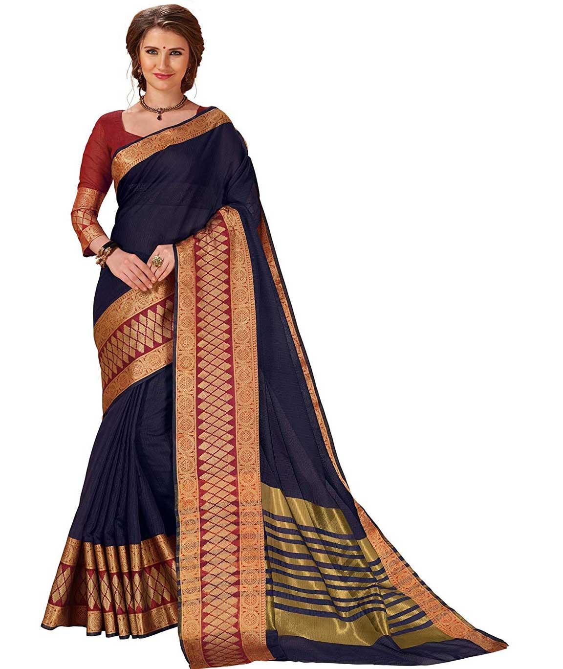 Shangrila Designer Heavy Zari Bordered Natural Color Dyeing Kota Silk Saree With Unstitched Blouse Piece (Black)