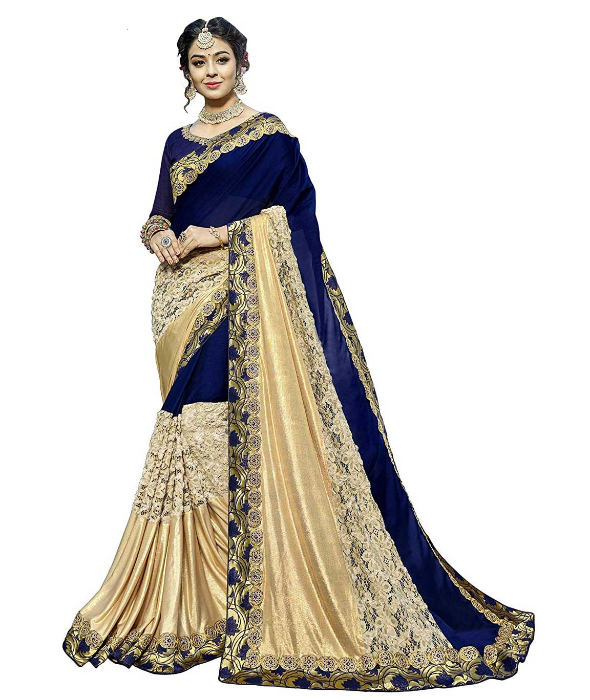 Shangrila Designer Blue Color Heavy Embroidered Fancy Fabric Saree With Unstitched Blouse Piece (Blue)