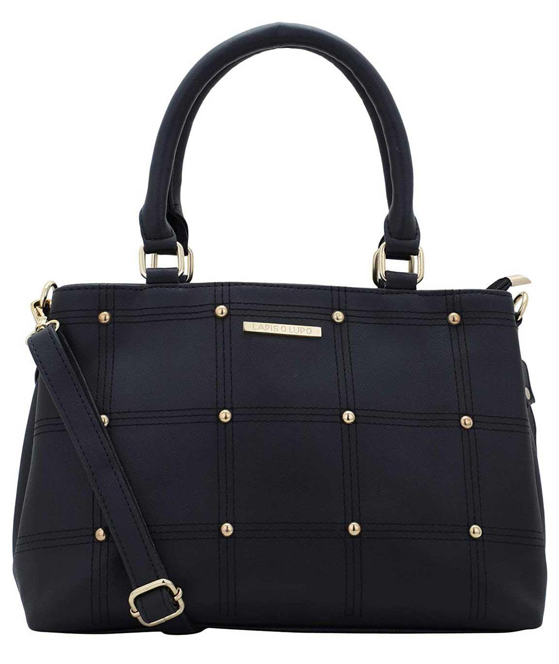 Lapis O Lupo Sewing Embroidery Women Handbag (Black)