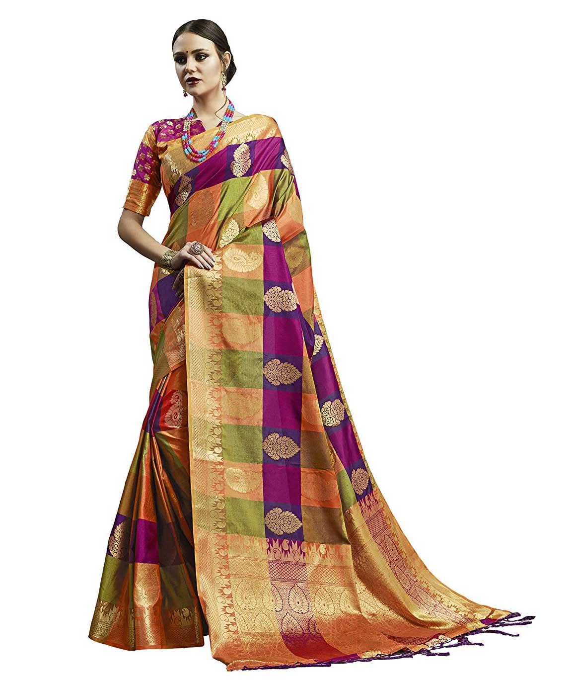 Shangrila Designer Heavy Zari Border Banarasi Silk Saree with Unstitched Blouse Piece