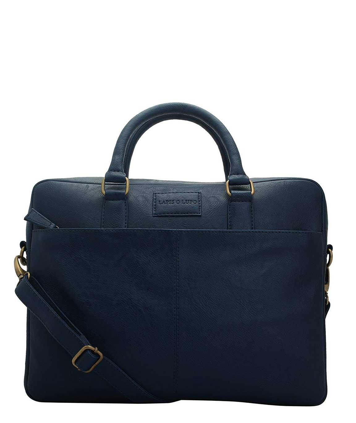 Lapis O Lupo Polyester Blue Laptop Briefcase