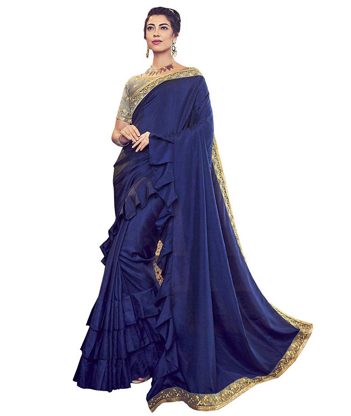 Shangrila Designer Women`s Silk Ruffled Pattern Border Chinon Saree with Blouse Piece (CINDRELLA-20072 Blue)