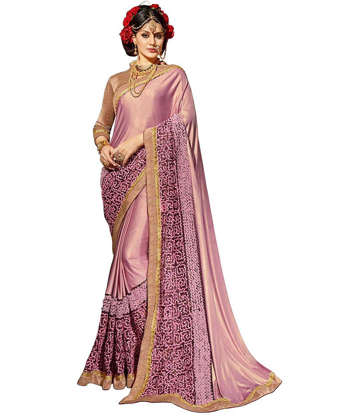 Shangrila Designer Shimmer Net Embroidery Satin Silk Saree with Brocade Lace Unstitched Blouse Piece (Purple MARVEL2-8331)