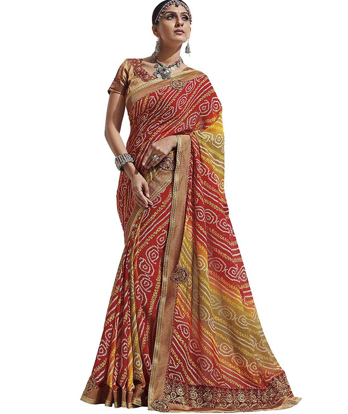 Shangrila Designer Women`s Georgette Bandhej Printed Zari Lace Border Saree with Blouse (RYLBDH3-5365 Multi Shades)