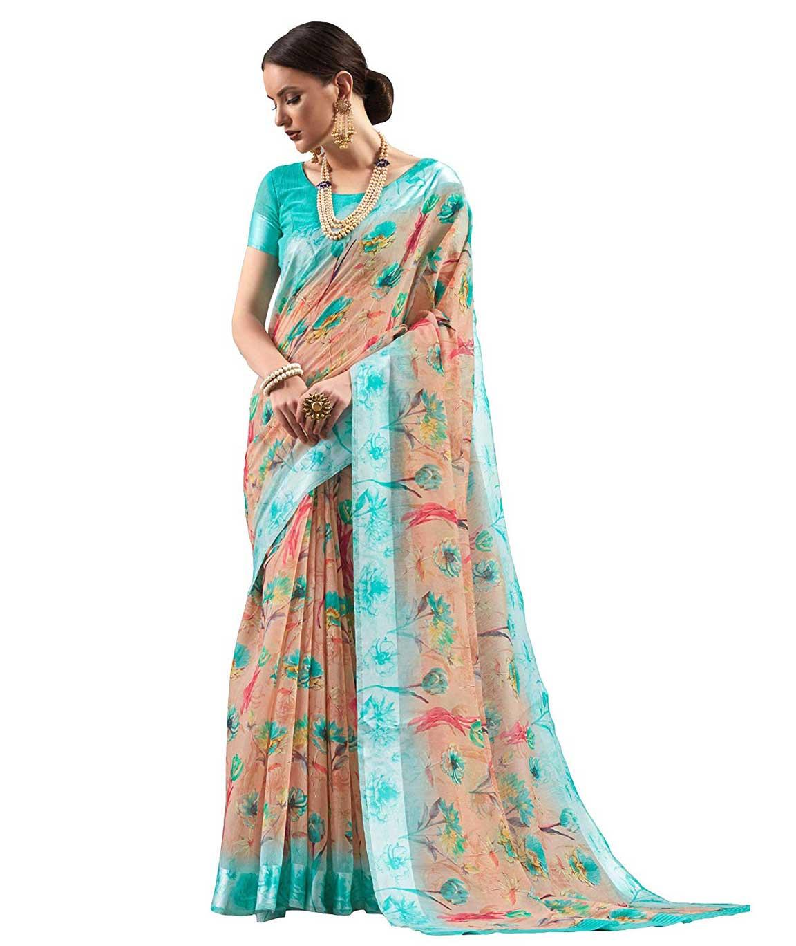 Shangrila Designer Women`s Digital Printed Linen Cotton Saree with Blouse (KNCHCTN13-4584 Sea Green Beige)
