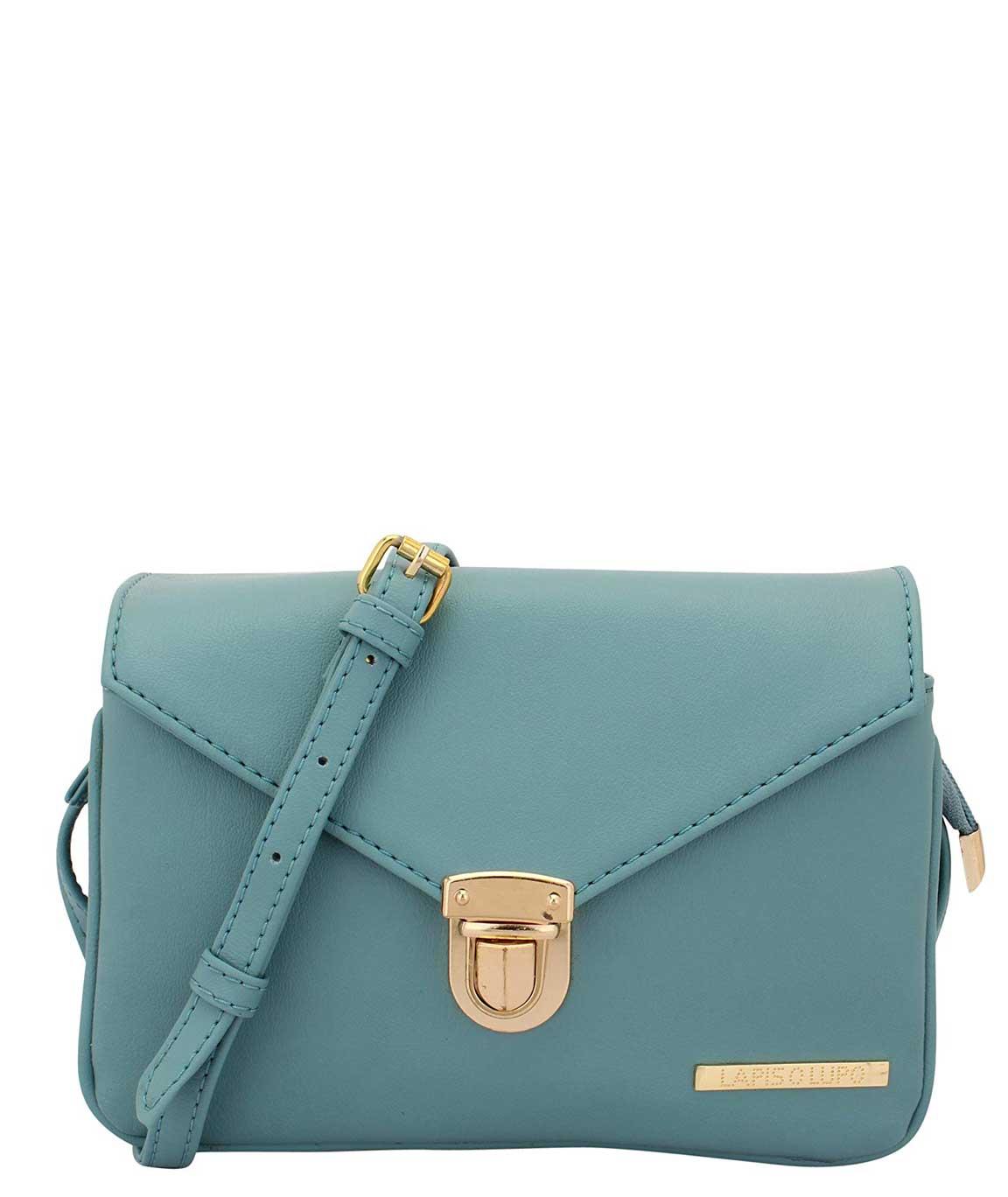 Lapis O Lupo Glaucous Women`s Polyurethane Sling Bag (Light Turquoise)
