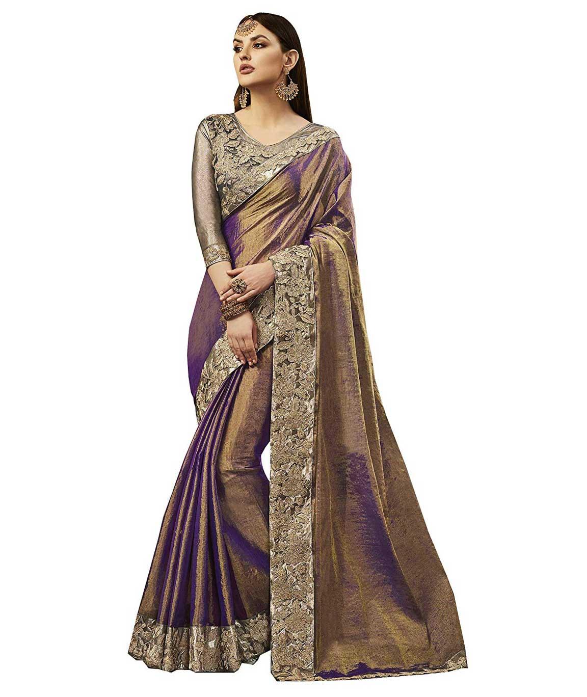 Shangrila Designer Purple Color Embellished Lace Work Silk Saree With Unstitched Blouse (Purple)