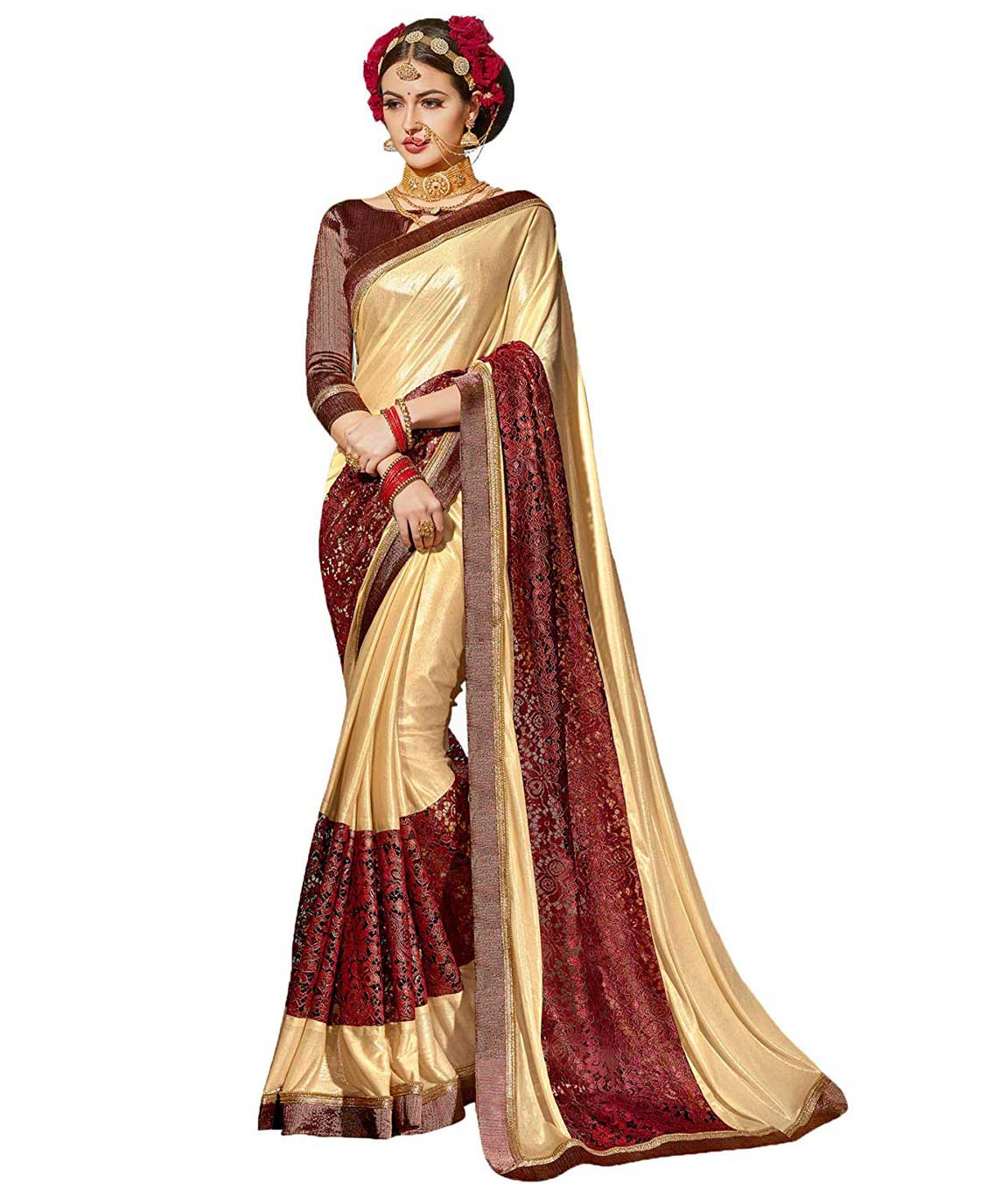 Shangrila Designer Shimmer Net Embroidery Satin Silk Saree with Brocade Lace Unstitched Blouse Piece (Black MARVEL2-8341)