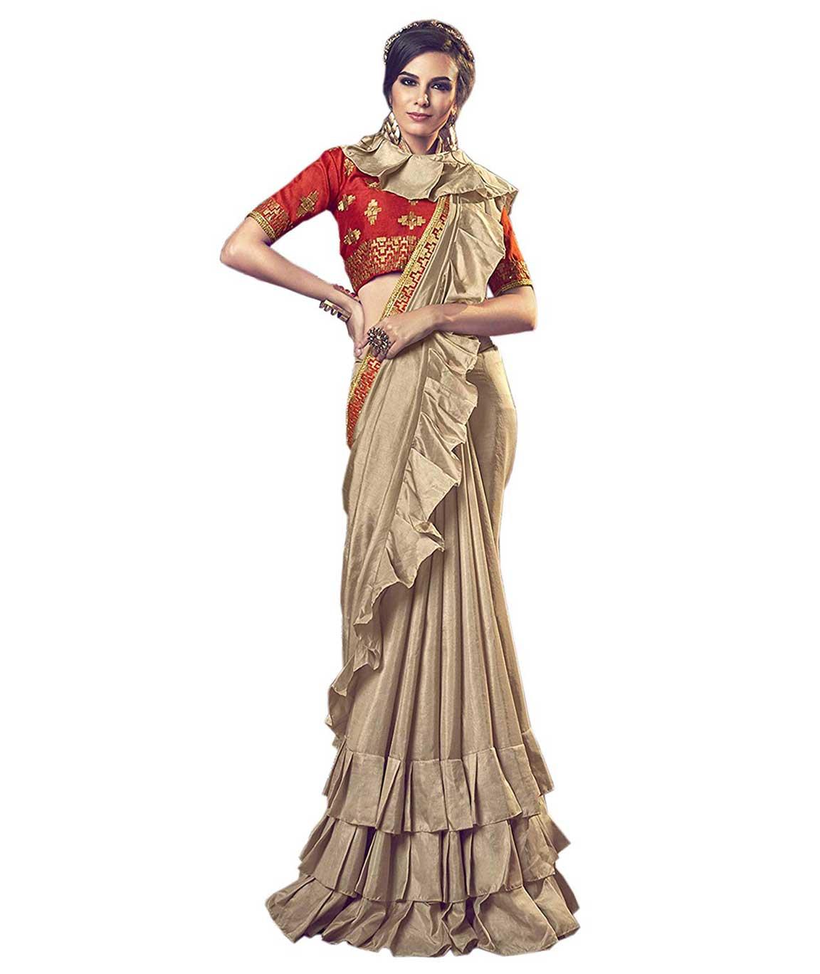 Shangrila Designer Women`s Ruffled Pattern Border Chinon Silk Saree with Blouse Piece (CINDRELLA-20073 Dirt Beige)