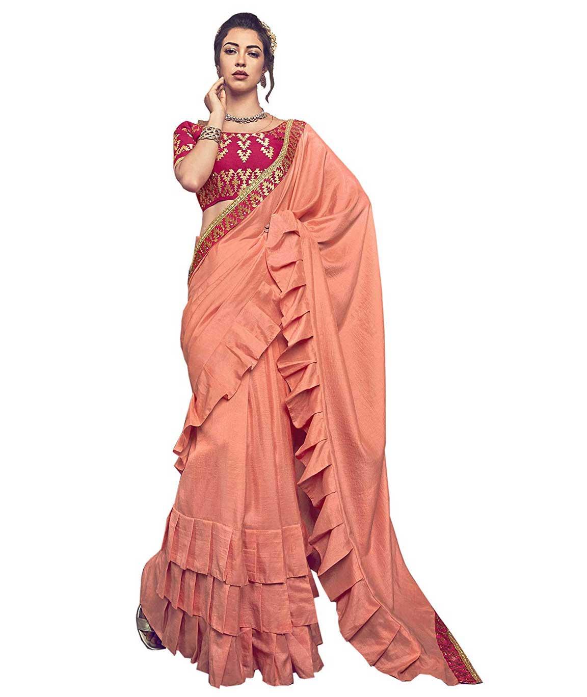 Shangrilla Designer Ruffled Pattern Border Chinon Silk Saree With Unstitched Blouse Piece (Orange)