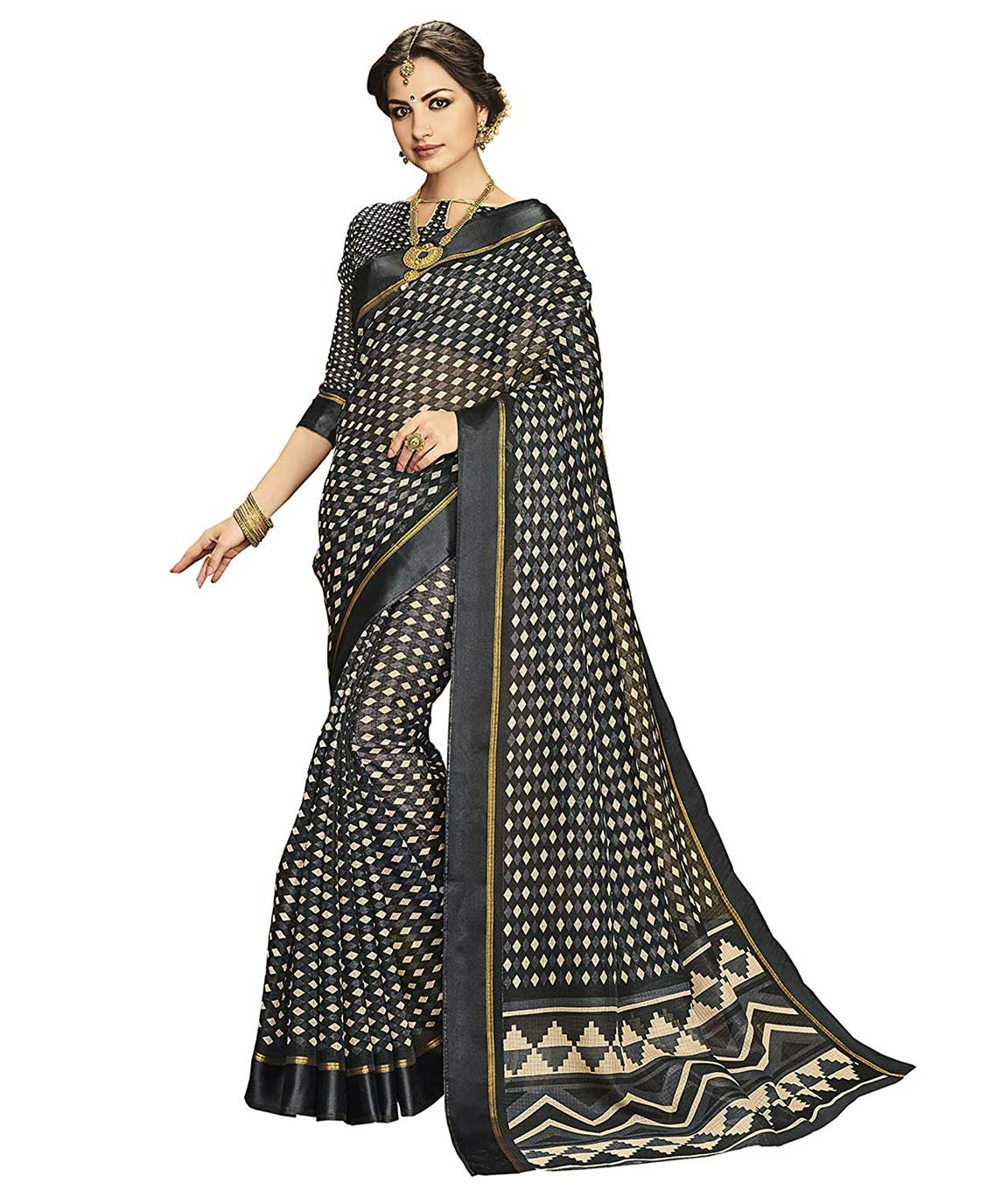 Shangrila Designer Kora Silk Saree(KOTS4-2443_Black_Free Size)