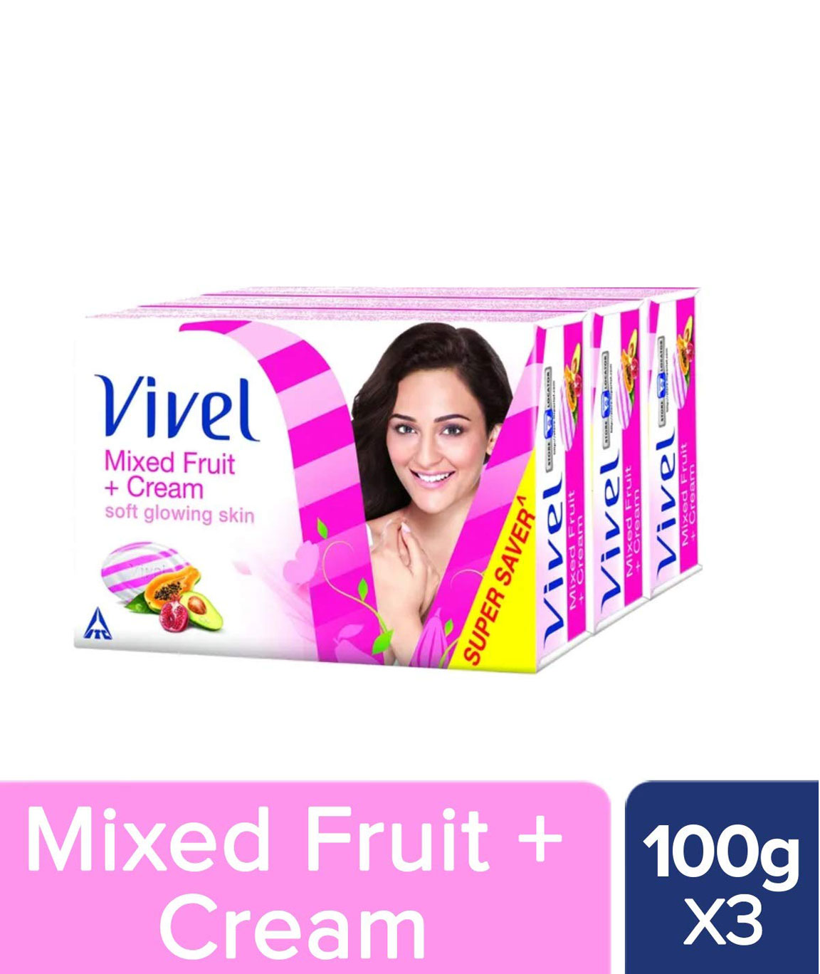 Vivel Mixed Fruit and Cream Soap 100g (Pack of 3)