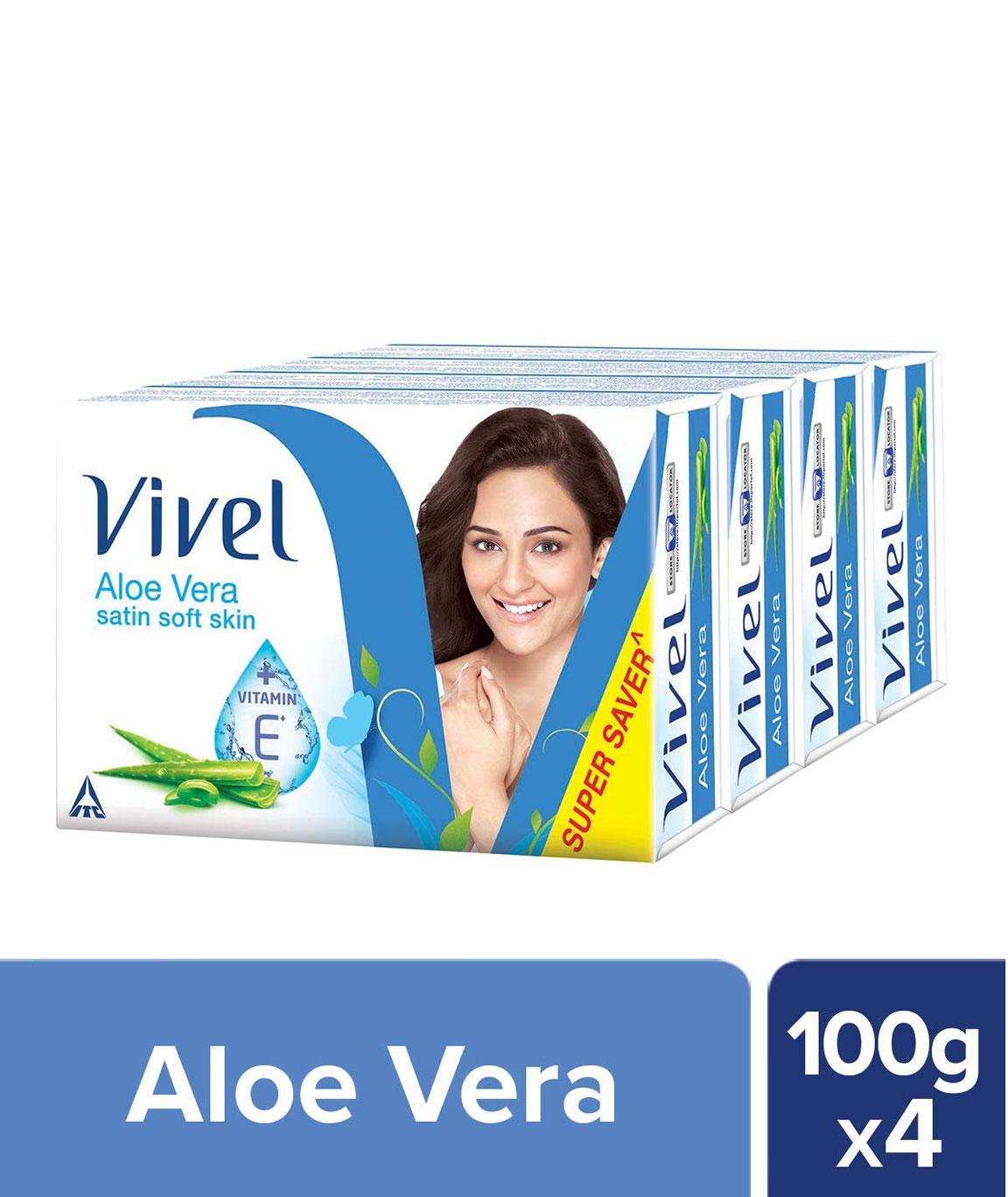 Vivel Aloe Vera Bathing Bar, 100gm (Pack of 4)