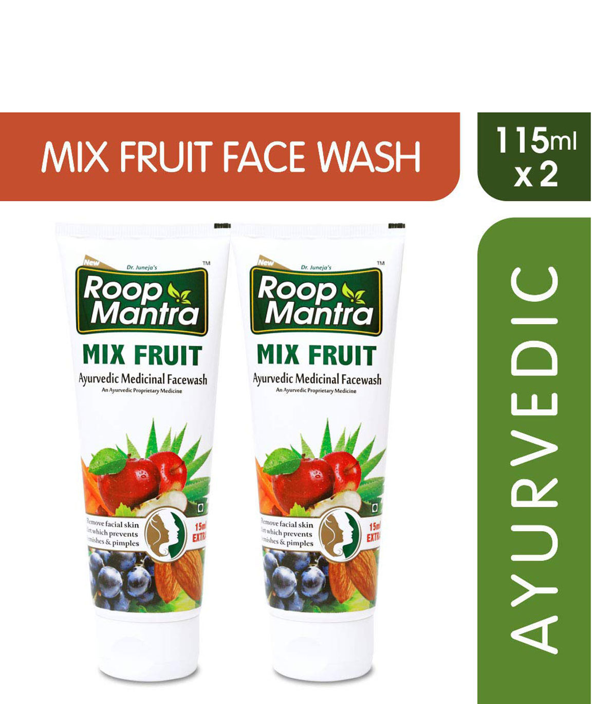 Roop Mantra Mix Fruit Face Wash, 115ml (Pack of 2)