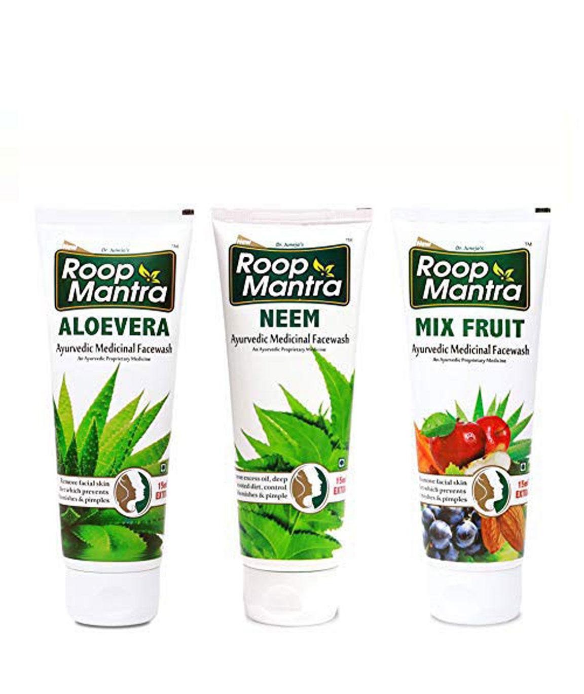 Roop Mantra Face Wash Combo for Men & Women (Aloevera Face Wash + Neem Face Wash + Mix Fruit Face Wash) - 115ml X 3pcs