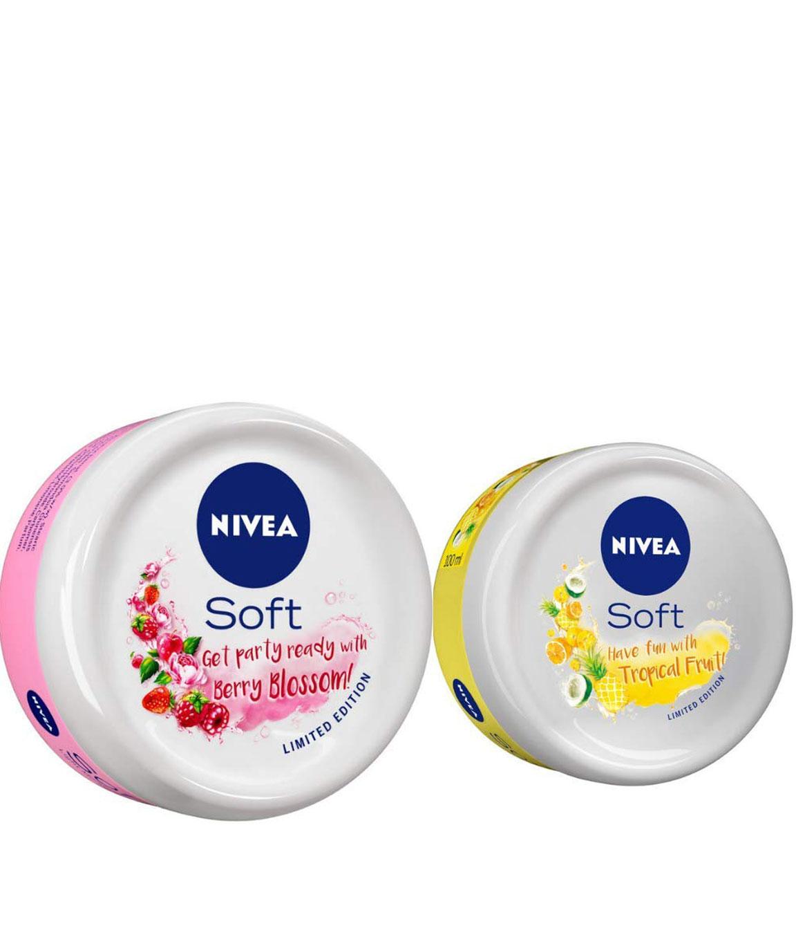NIVEA Soft Light Moisturizer Berry Blossom With Vitamin E & Jojoba Oil, 100 ml and NIVEA Soft Light Moisturizer Tropical Fruit With Vitamin E & Jojoba Oil, 50 ml