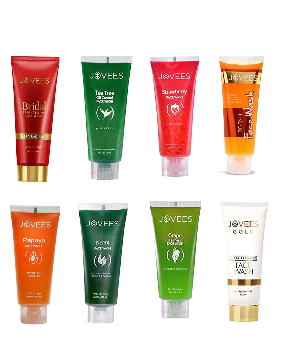Jovees Face Wash-Eight Flavour-Bridal Brightening,Gold Ultra Radiance,Papaya,De-Tan,Tea Tree,Grape,Neem,Strawberry. Face Wash (120 ml)