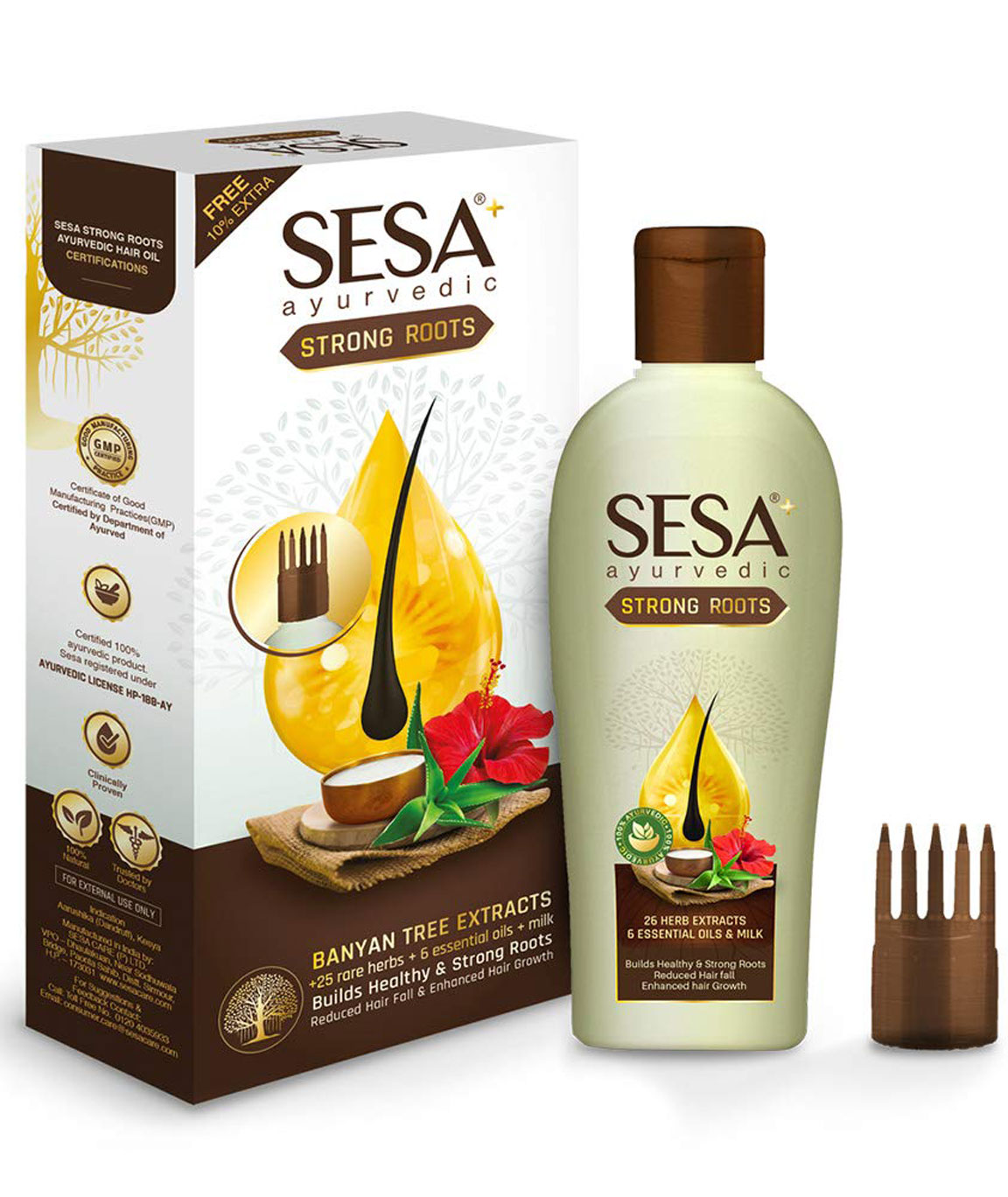 Sesa Plus Ayurvedic Strong Roots Oil, Prevents Hair Fall, Good for Hair Growth with Bhringraj and pure Banyan Tree Extracts 100ml