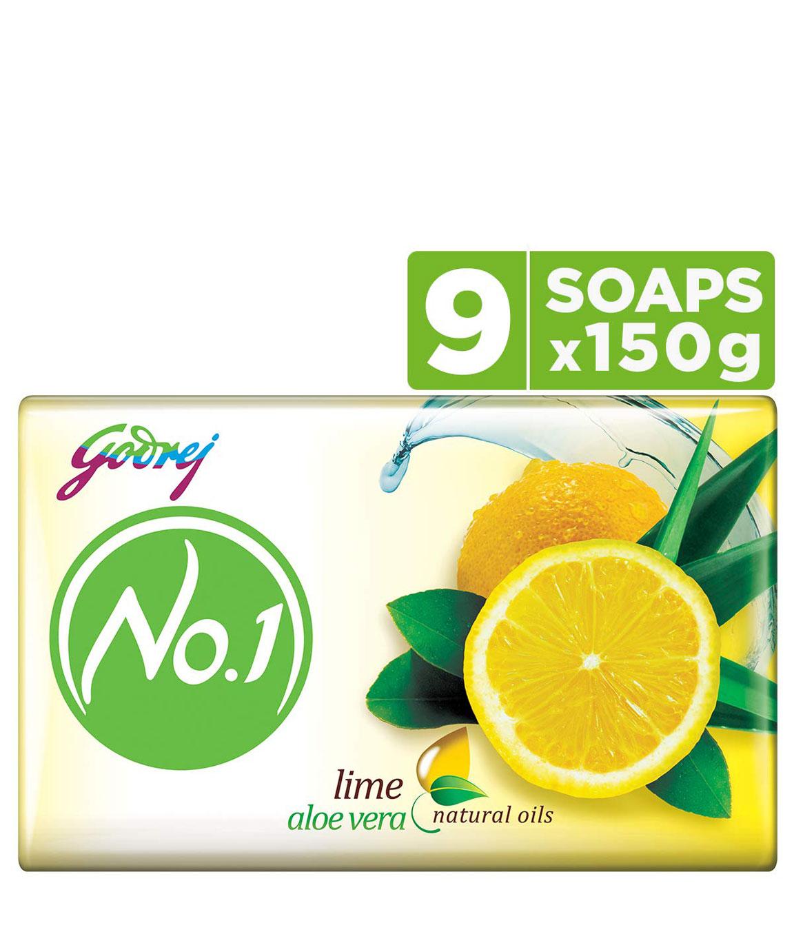 Godrej No.1 Bathing Soap  Lime & Aloe Vera, 150g (Pack of 9)