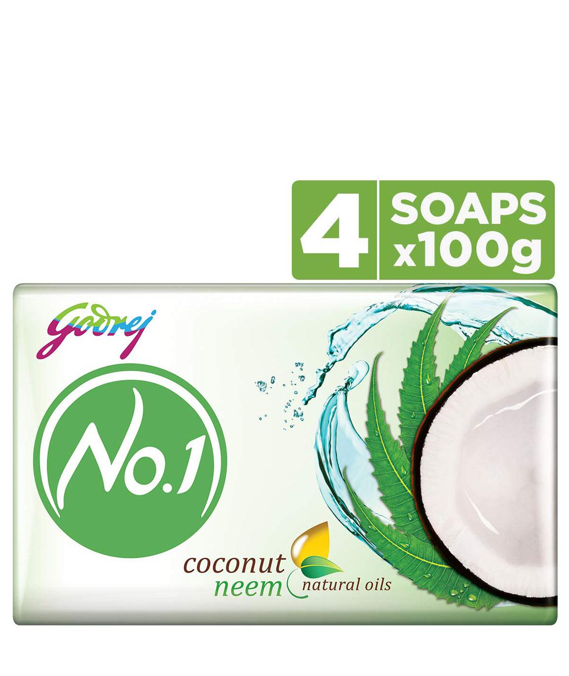 Godrej No.1 Bathing Soap  Coconut & Neem Soap, 100g (Pack of 4)