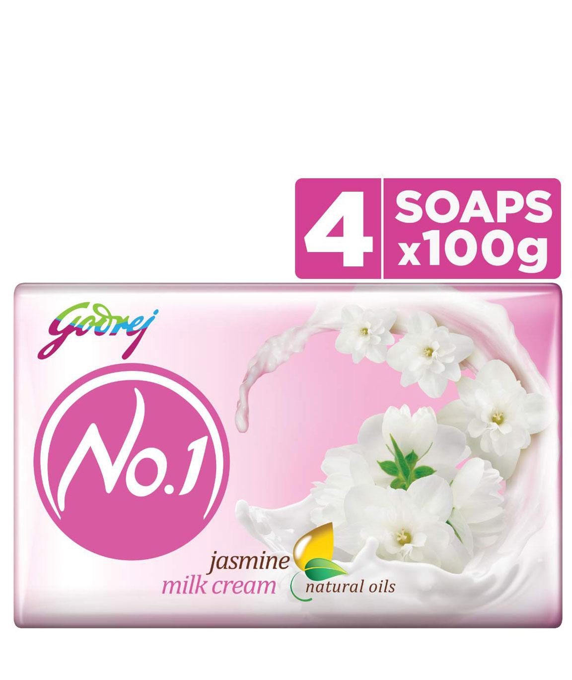 Godrej No.1 Bathing Soap  Jasmine, 100g (Pack of 4)