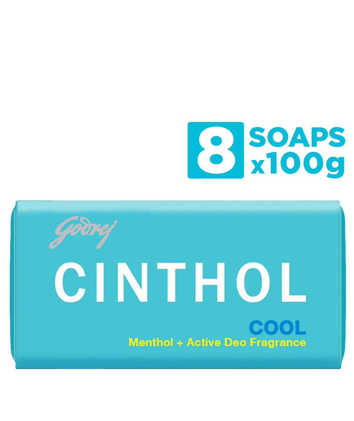 Cinthol Cool Bath Soap, 100g (Pack of 8)