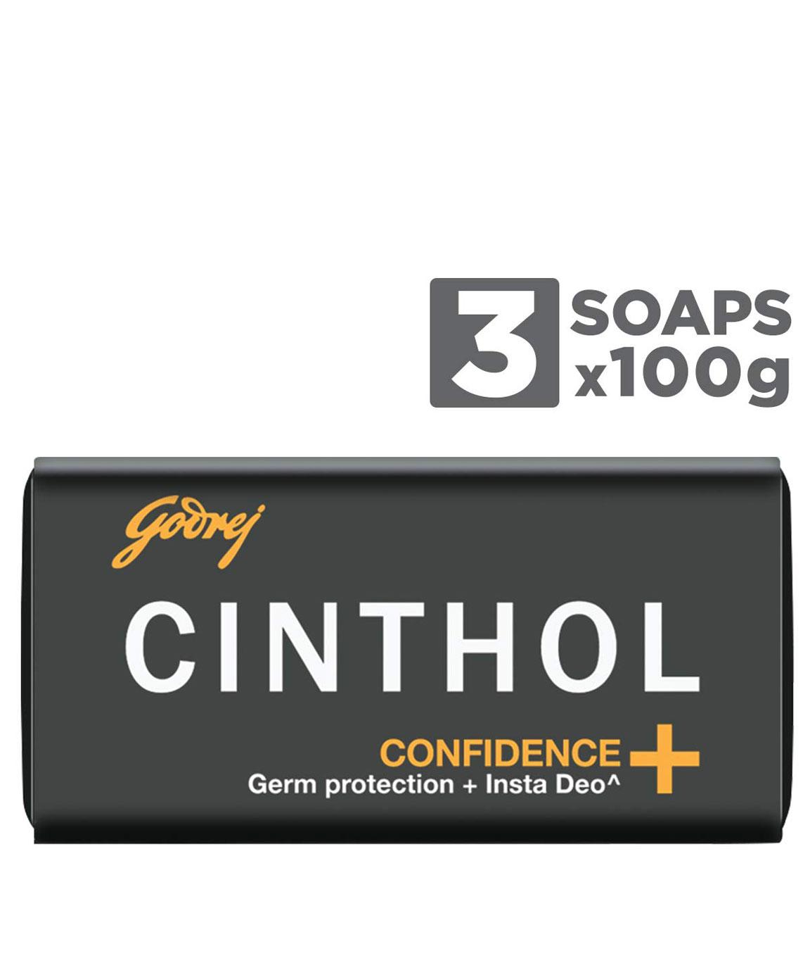 Cinthol Confidence+ Bath Soap, 100g (Pack of 3)