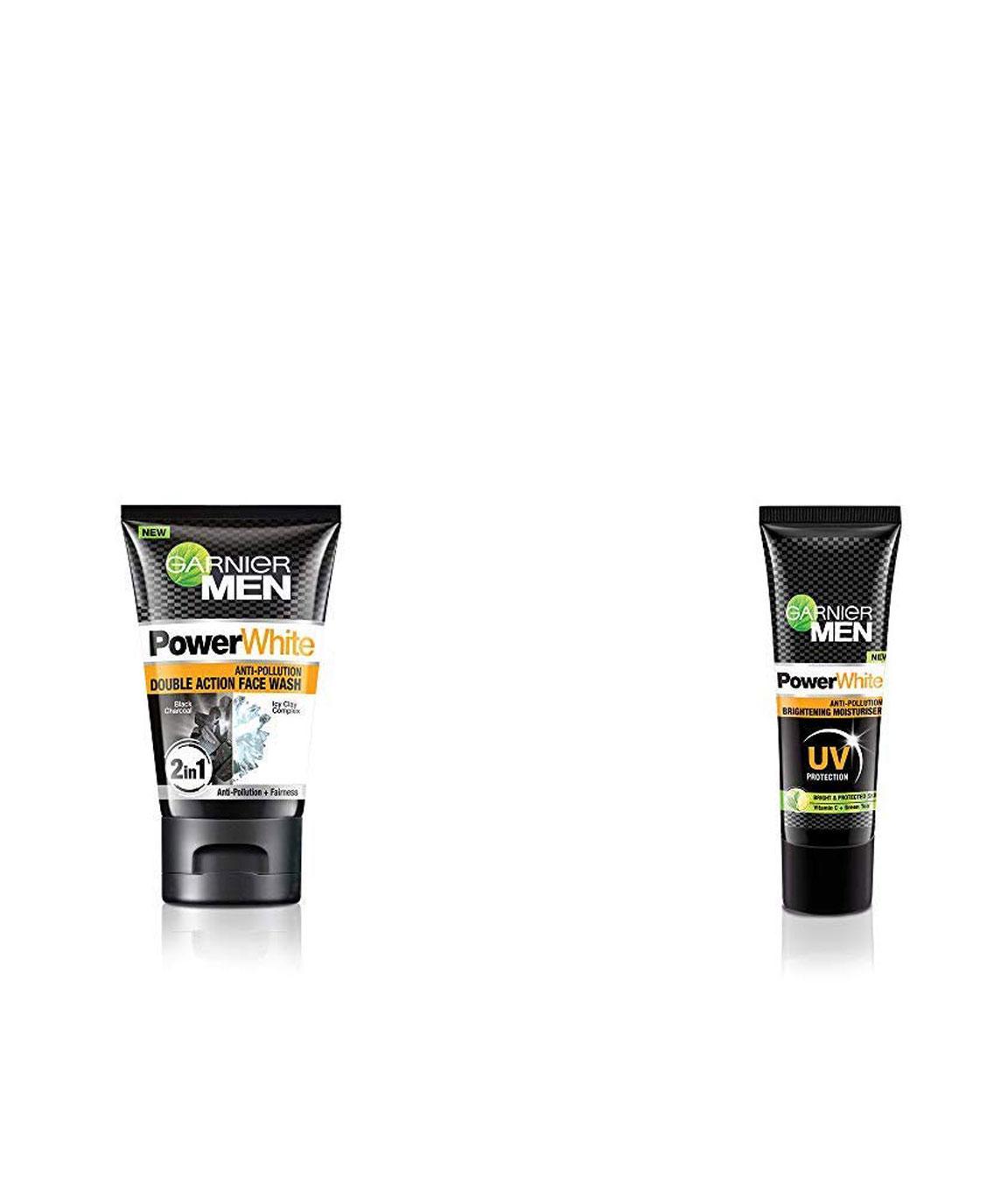 Garnier Men Power White Anti-Pollution Double Action Facewash, 100gm & Garnier Men PowerWhite Anti-Pollution Brightening Moisturiser,20g