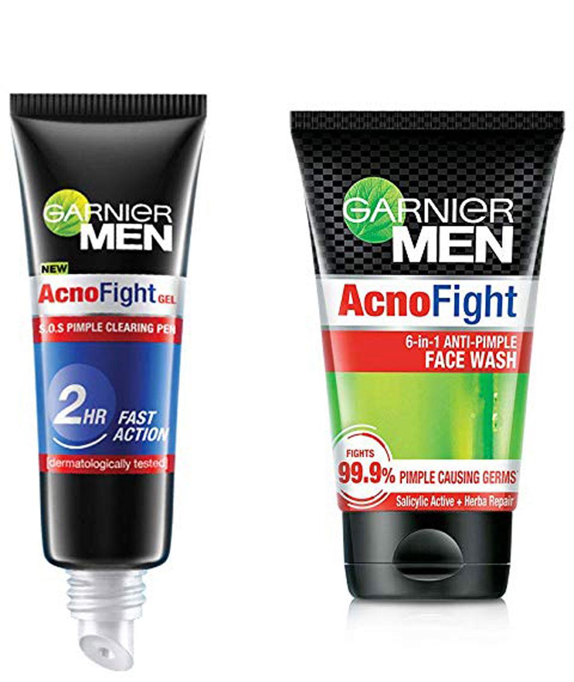 Garnier Men Acno Fight Pimple Clearing Gel,10 ml and Garnier Acno Fight Face Wash for Men, 100 gm
