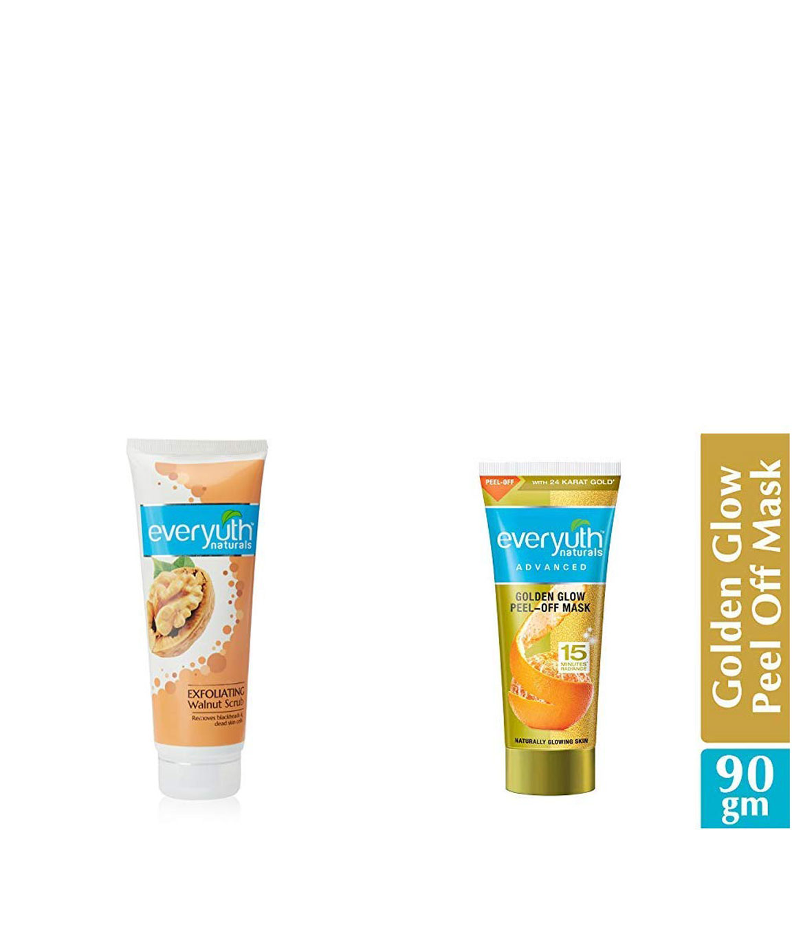 Everyuth Naturals Exfoliating Walnut Scrub with nano Multi Vit A, 200g & Advanced Golden Glow Peel-off Mask with 24K Gold, 90gm Combo