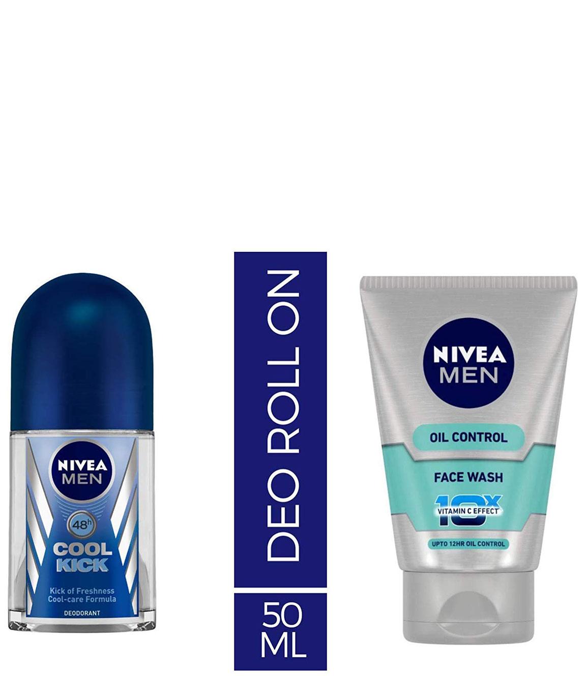 Nivea Deodrant Roll On, Cool Kick, 50ml and NIVEA MEN Face Wash, Oil Control With Vitamin C, 100ml