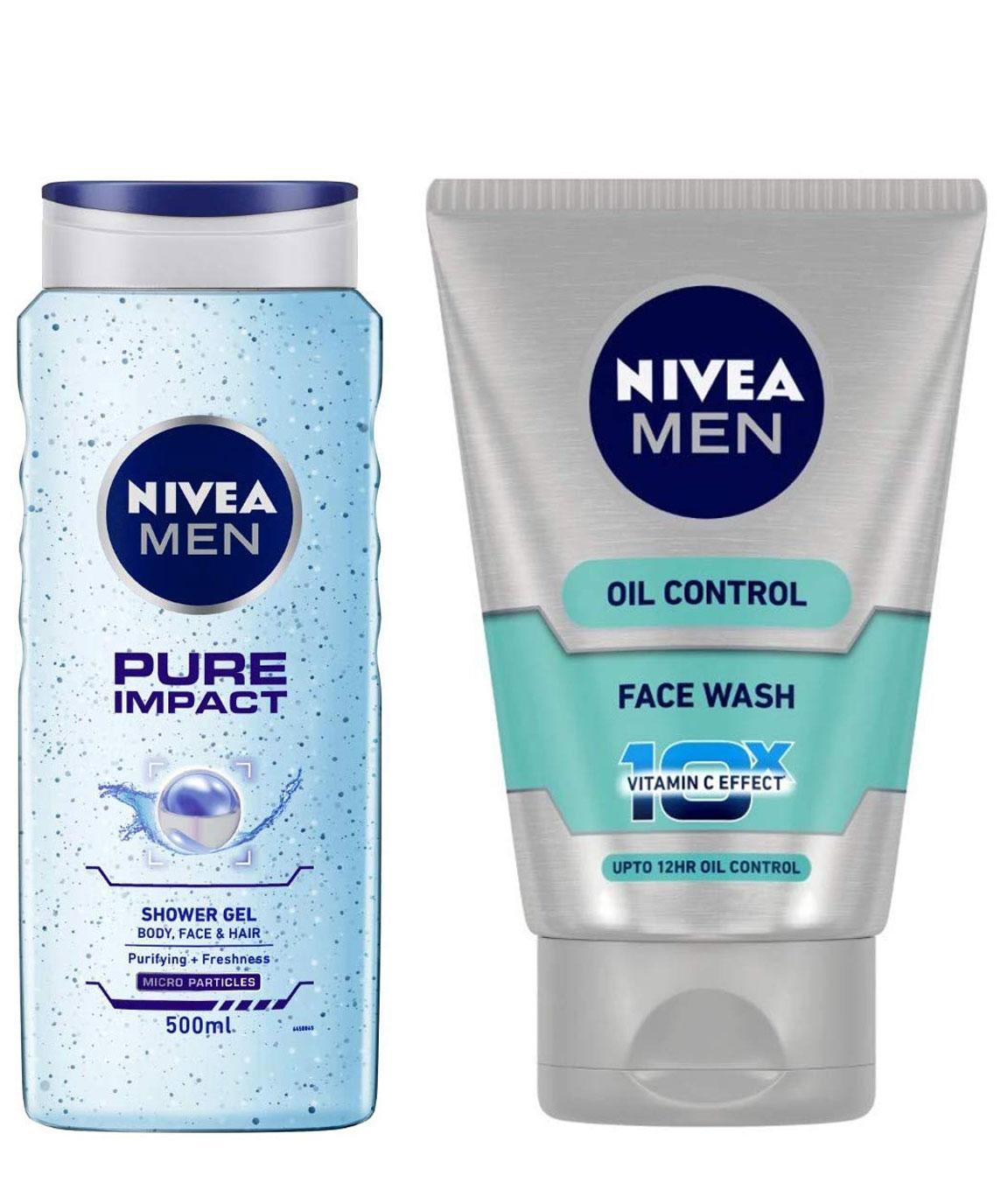 NIVEA MEN Hair, Face & Body Wash, Pure Impact Shower Gel, 500ml & MEN Face Wash, Oil Control With Vitamin C, 100ml Combo