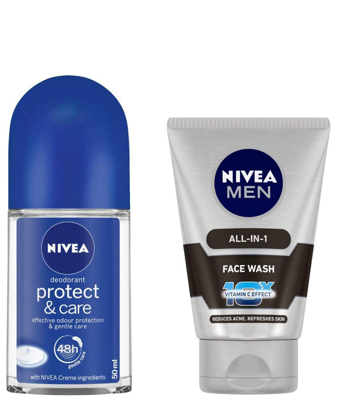 NIVEA Roll-on Deodorant, Protect and Care, 50ml and NIVEA MEN Face Wash, All-in-One, 100ml