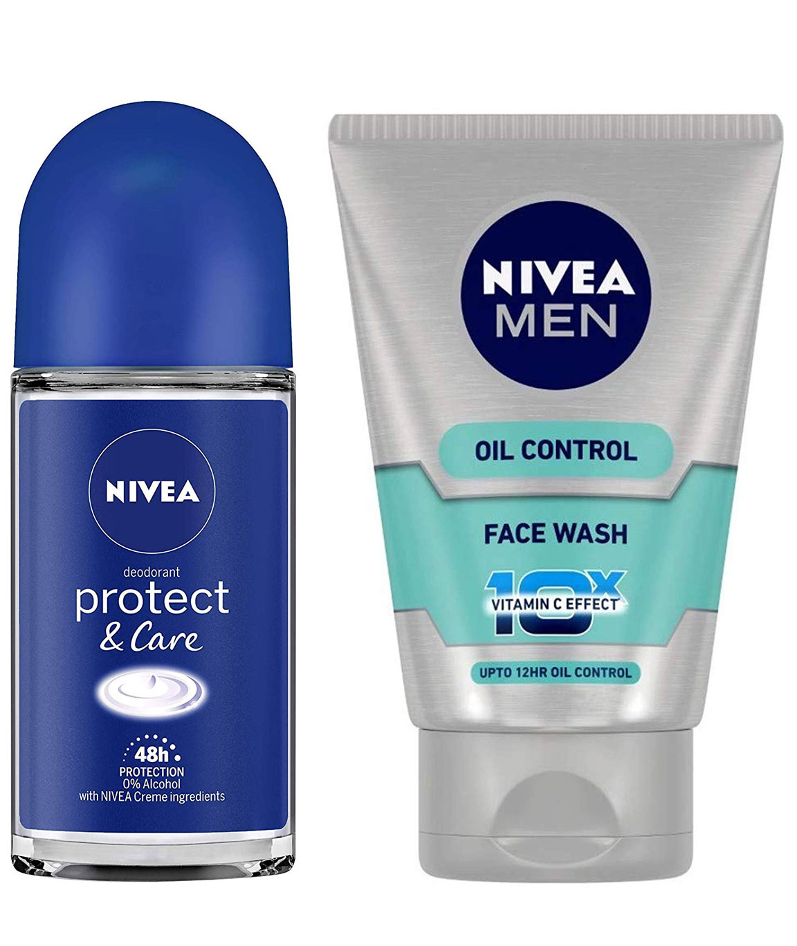 NIVEA Roll-on Deodorant, Protect and Care, 50ml & MEN Face Wash, Oil Control With Vitamin C, 100ml Combo