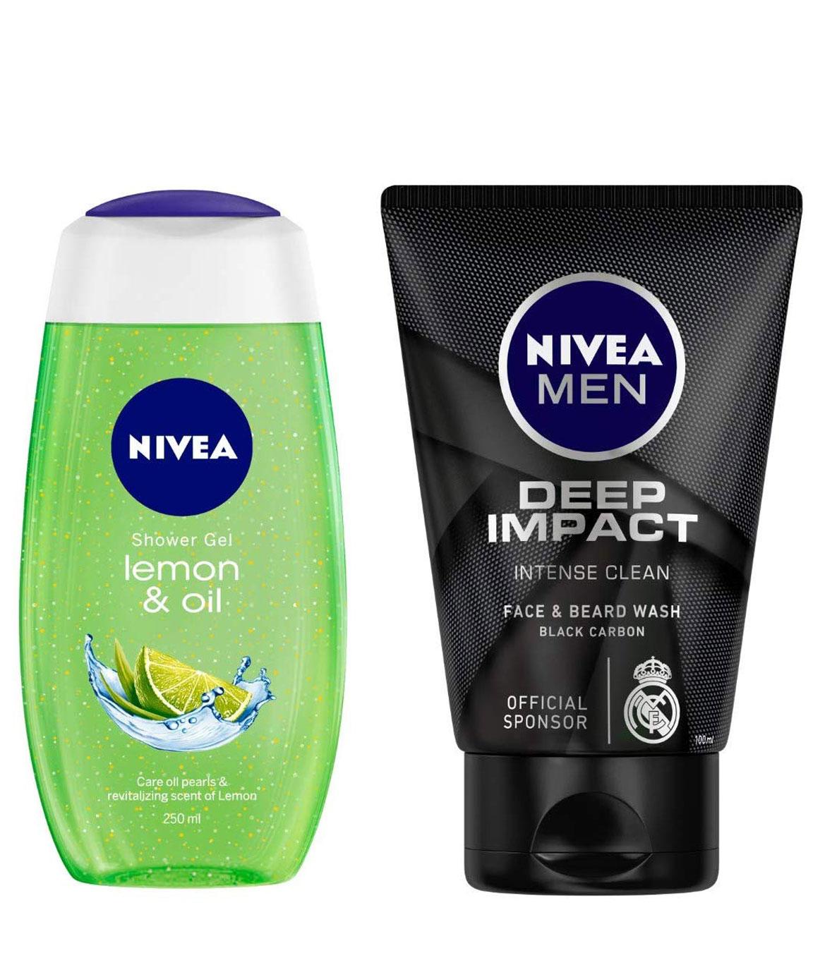 NIVEA Shower Gel, Lemon & Oil, 250ml & MEN Face & Beard Wash, Deep Impact Intense Clean, 100ml Combo