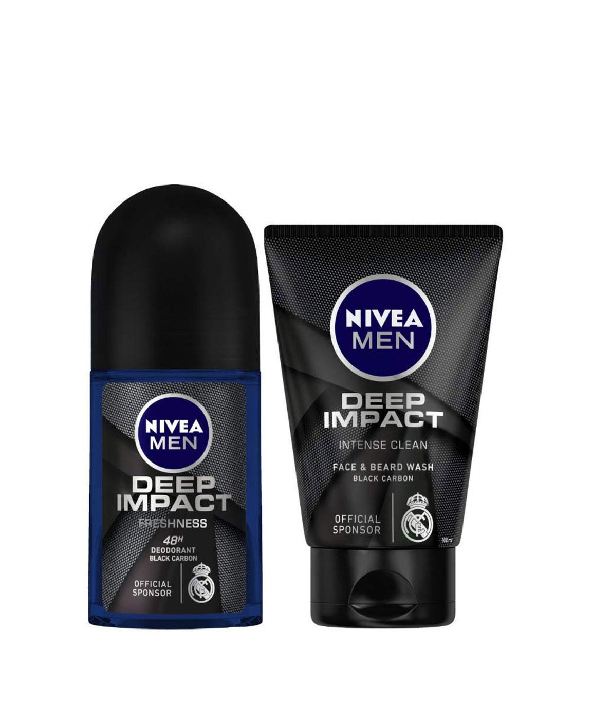NIVEA MEN Deodorant Roll-on, Deep Impact Freshness, 50ml and NIVEA MEN Face & Beard Wash, Deep Impact Intense Clean, 100ml