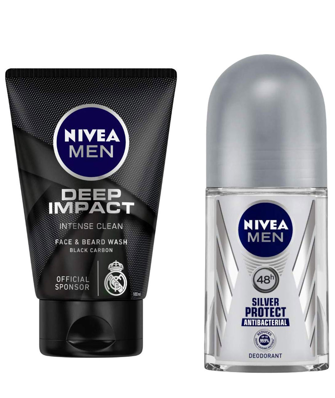 NIVEA MEN Face & Beard Wash, Deep Impact Intense Clean, 100ml and NIVEA MEN, Deodorant Roll-on, Silver Protect Antibacterial, 50ml