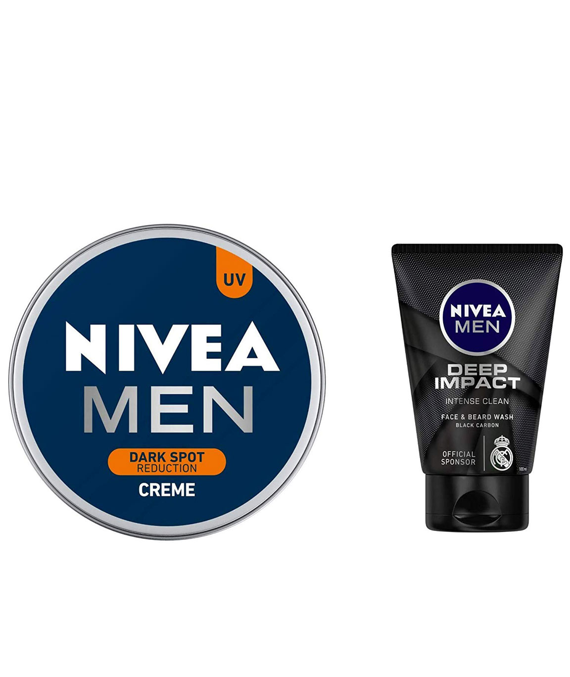 NIVEA MEN Cream, Dark Spot Reduction, 150ml and NIVEA MEN Face & Beard Wash, Deep Impact Intense Clean, 100ml