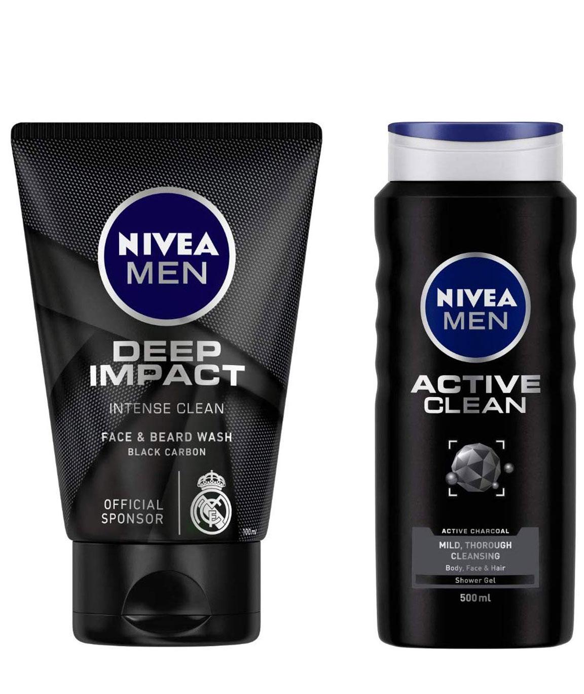 NIVEA MEN Face & Beard Wash, Deep Impact Intense Clean, 100ml & MEN Hair, Face & Body Wash, Active Clean Shower Gel, 500ml Combo