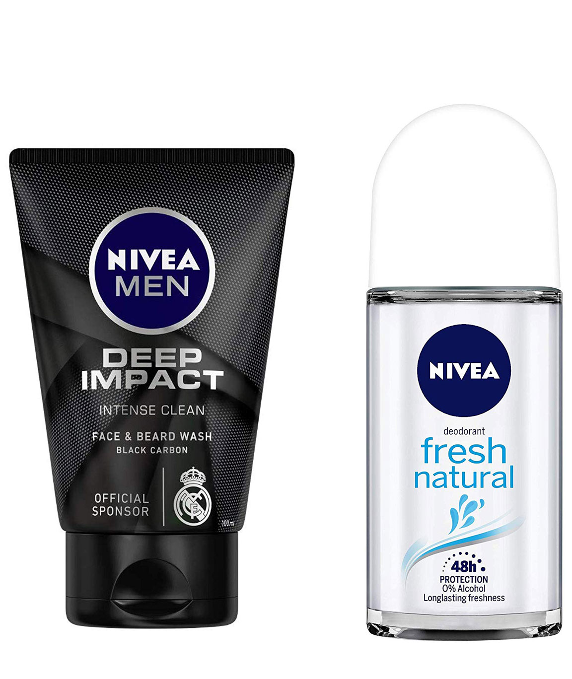 NIVEA MEN Face & Beard Wash, Deep Impact Intense Clean, 100ml & Deodorant Roll-on, Fresh Natural, 50ml Combo