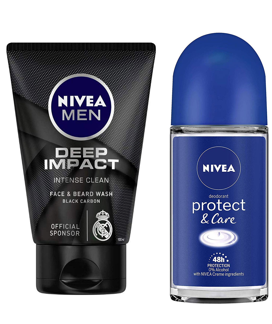 NIVEA MEN Face & Beard Wash, Deep Impact Intense Clean, 100ml & Roll-on Deodorant, Protect and Care, 50ml Combo