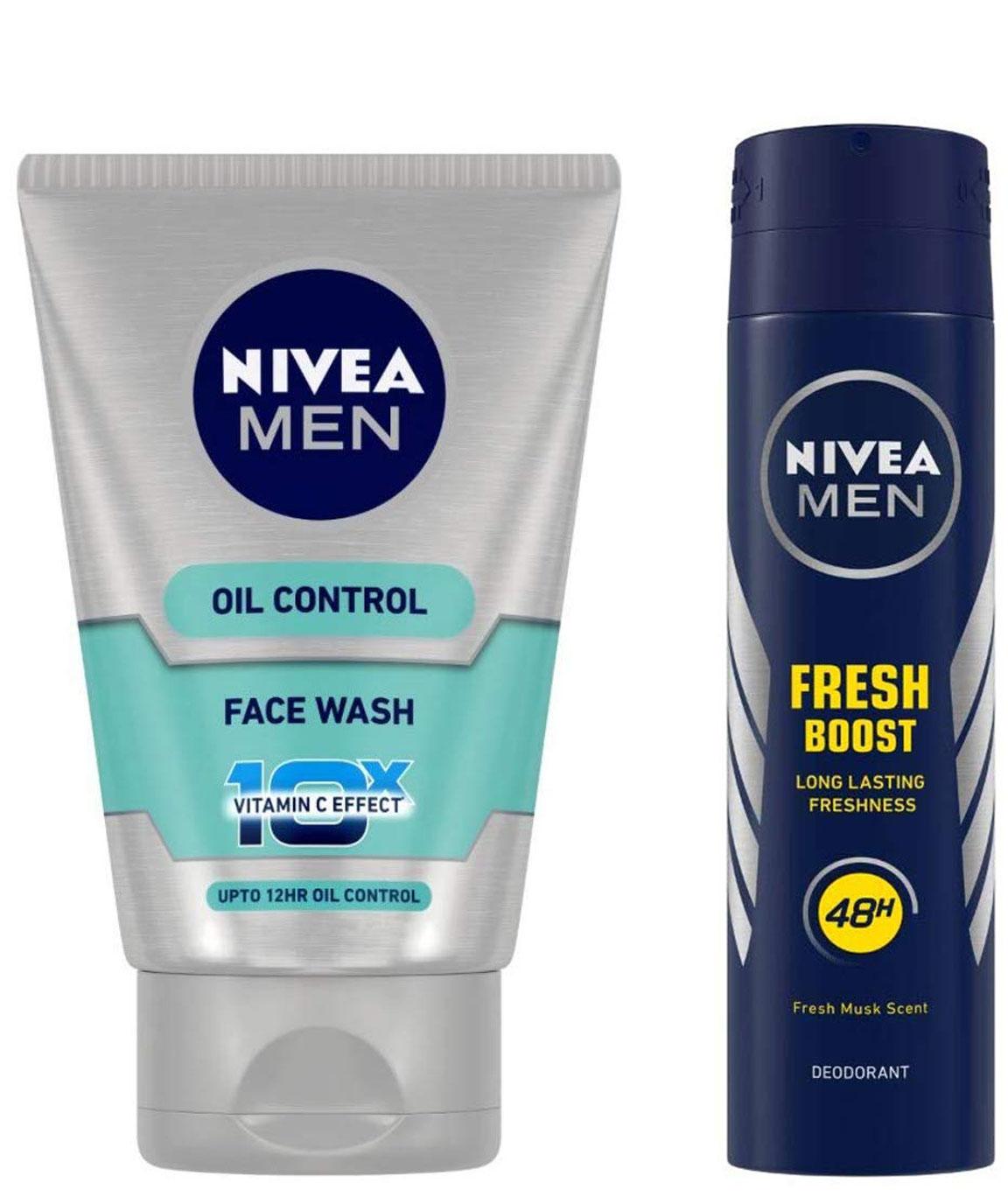 NIVEA MEN Face Wash, Oil Control With Vitamin C, 100ml & MEN Deodorant, Fresh Power Boost, 150ml Combo