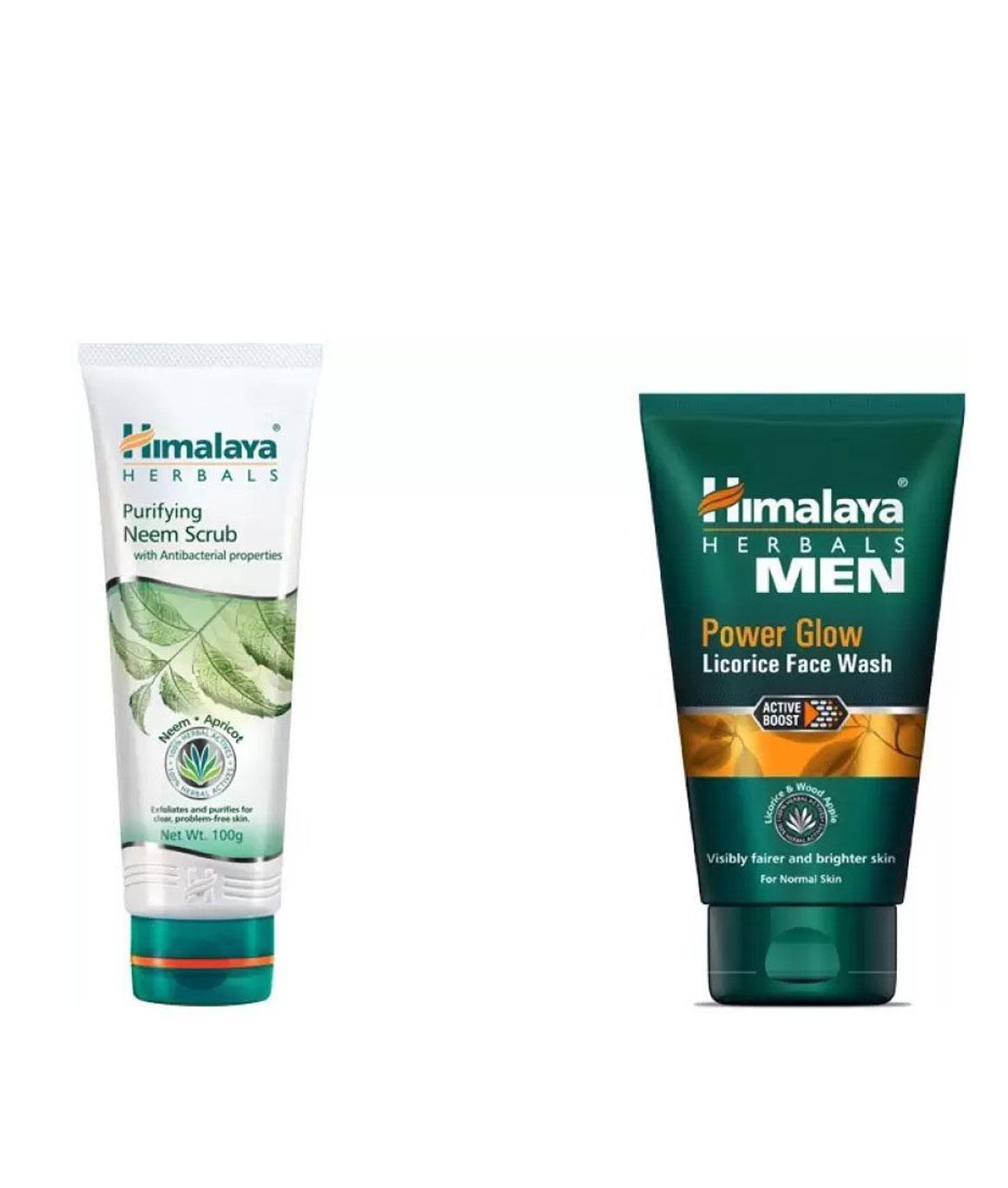 Himalaya Combo of Purifying Neem Scrub Men Power Glow Licorice Face Wash