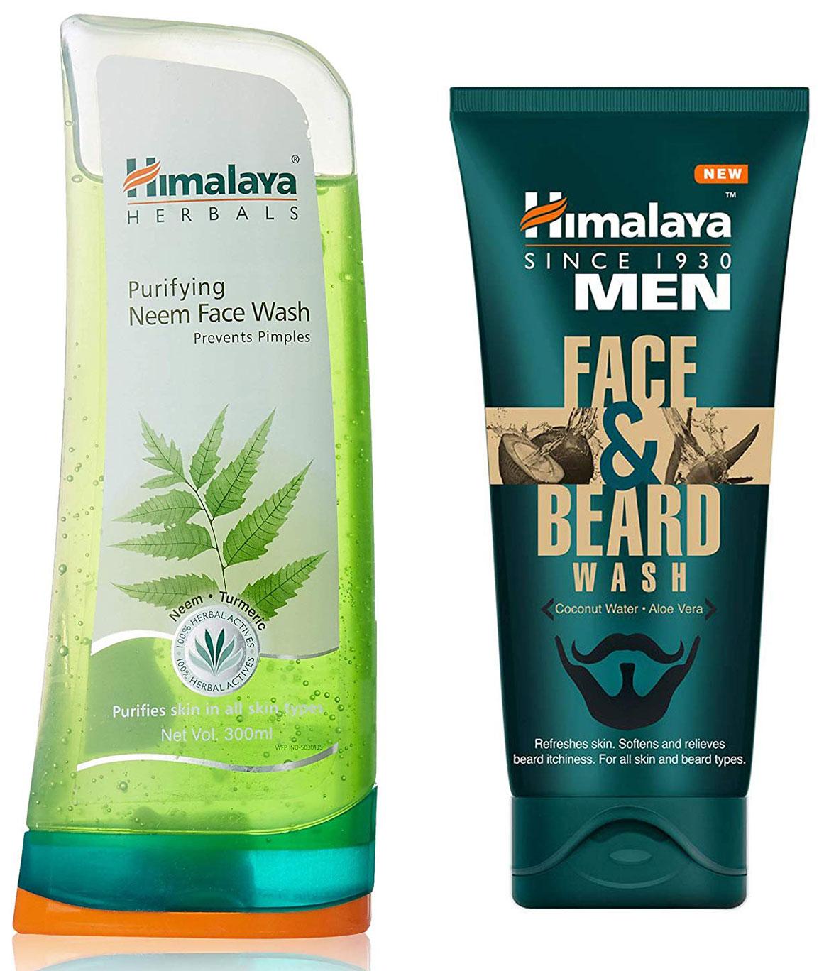 Himalaya Herbals Purifying Neem Face Wash 300ml and Himalaya Men Face And Beard Wash 80ml