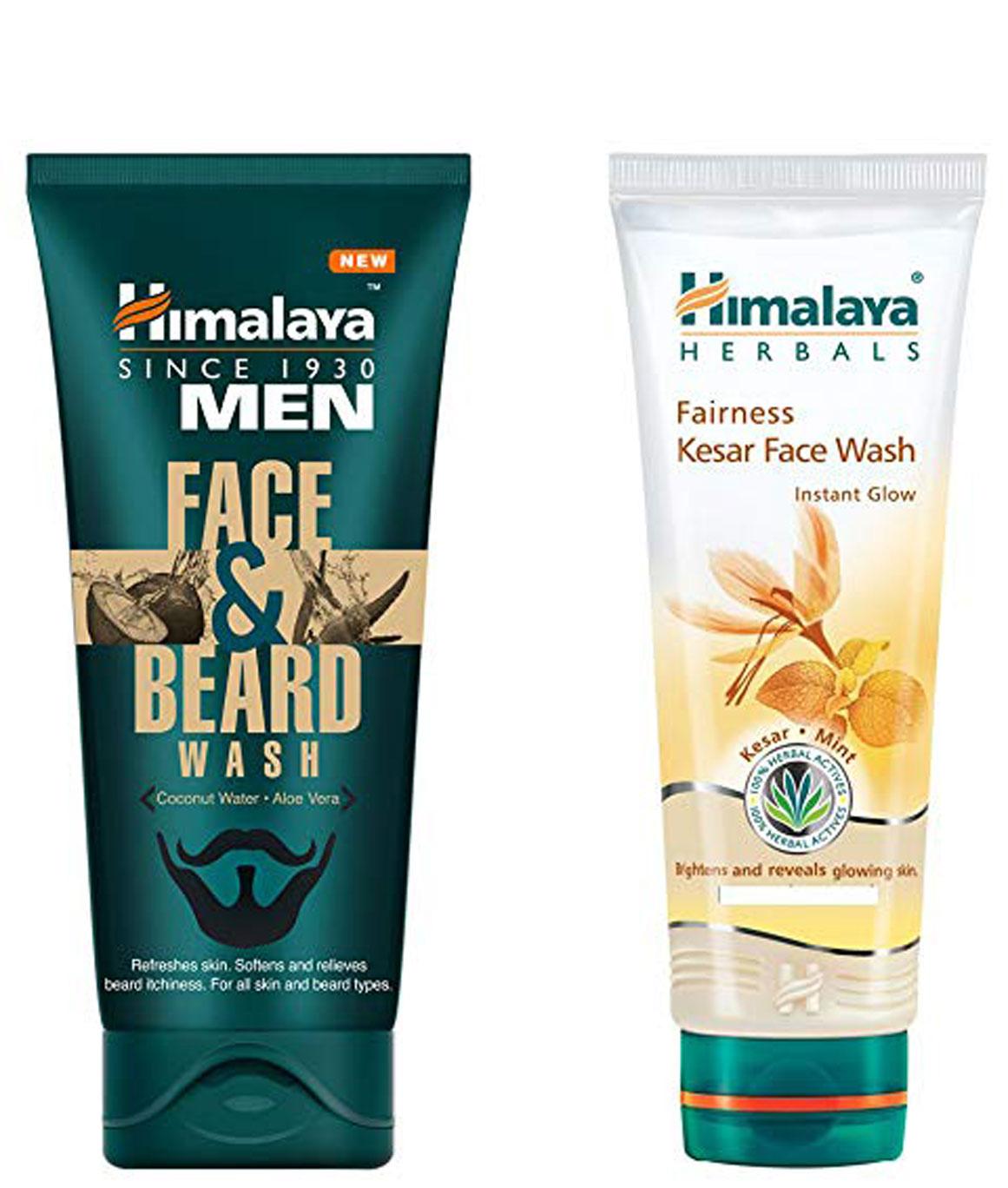 Himalaya Men Face And Beard Wash 80ml and Himalaya Fairness Kesar Face Wash 150ml