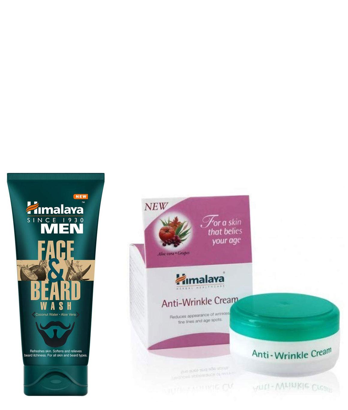 Himalaya Men Face And Beard Wash 80ml and Himalaya Herbals Anti-Wrinkle Cream 50g