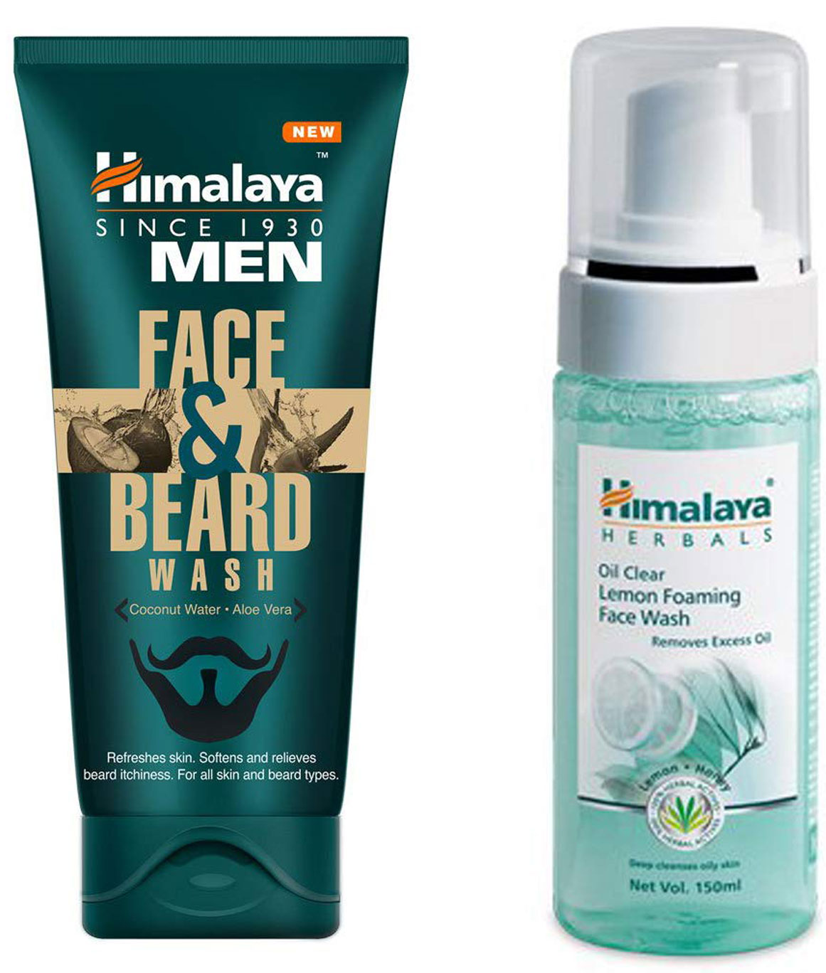 Himalaya Men Face And Beard Wash 80ml and Himalaya Herbals Oil Clear Lemon Foaming Face Wash 150ml